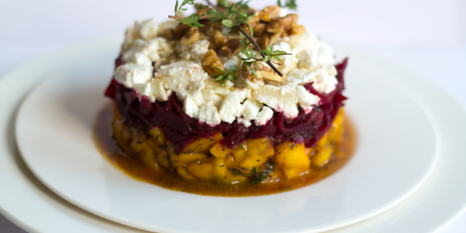 Mango-Beet Christmas Timbale with Goat Cheese