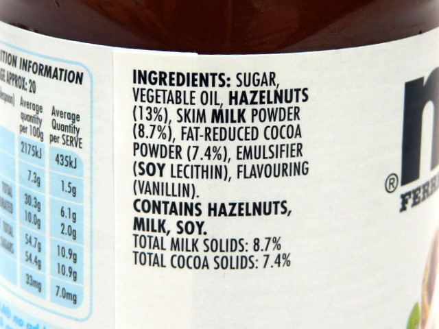 Ingredient list Nutella. Copyright: Foodwatch.com